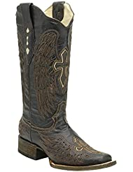 Corral Womens A1999 Wing and Cross Brown Fashion Western Cowboy Boots