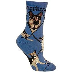 German Shepherd Dog Blue Cotton Ladies Socks, One Size, 9-11