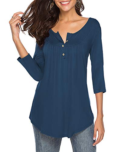 Womens Shirts Casual Tee V Neck 3/4 Sleeve Button up Loose Fits Tunic Tops Blouses Navy M ()