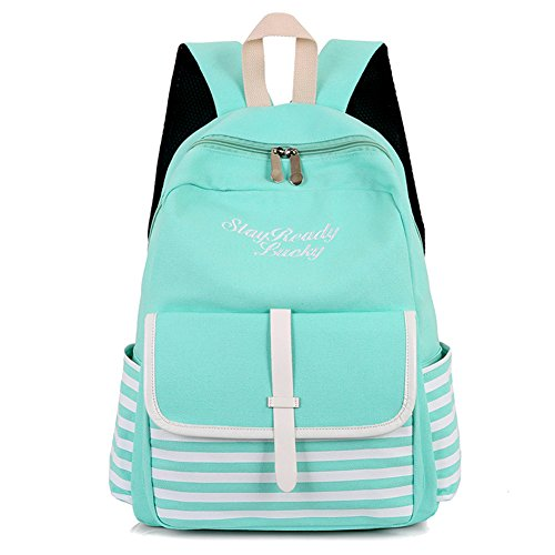 Green Striped Backpack (FinancePlan Fashion Women's Backpack, Striped Letters Embroidered Daypacks School Rucksack Shoulders Bag)