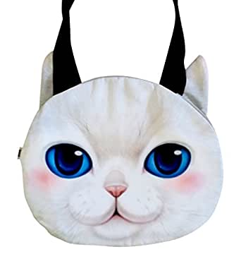 AM LandenJapanese Style Super Cute Cat Face Zipper Tote Shoulder Bags Handbags (Beige)