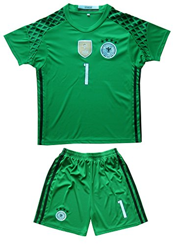 b22fa9cf073 GERMANY NEUER  1 Goalie Football Soccer Kids Goalkeeper Jersey Short Socks  Set Youth Sizes (