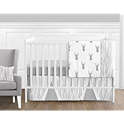 Grey and White Woodland Deer Unisex 11 Piece Crib Bedding Set without Bumper