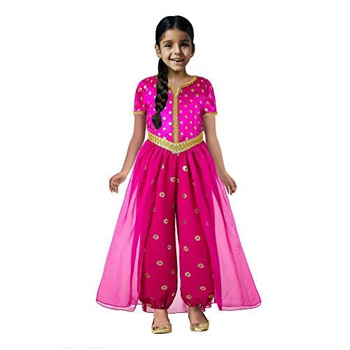 Pettigirl Girls Pink Princess Jasmine Costume Halloween Cosplay Outfit