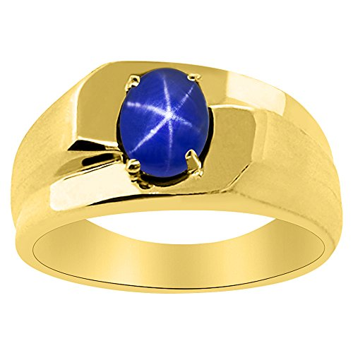 (Solitaire Blue Star Sapphire Ring Sterling Silver or 14K Yellow Gold Plated Silver)