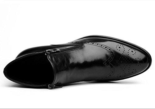 WZG Los nuevos zapatos del alto-top de los hombres botas británica Lun Mading señalaron botas botas de cuero botas casuales planas de los zapatos de la manera ocasional Black