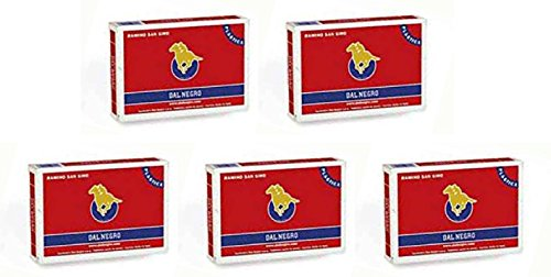 Dal Negro: ''San Siro Plastica'' Poker, Rummy Playing Cards with back red / blue 55 per deck - Pack o 5 by Dal Negro