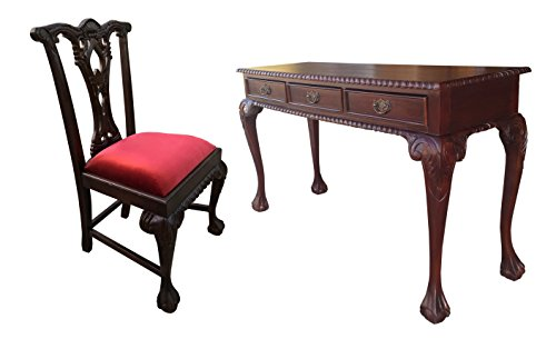 (D-Art England Writing Desk 3 drw and England Side Chair - in Mahogany Wood)