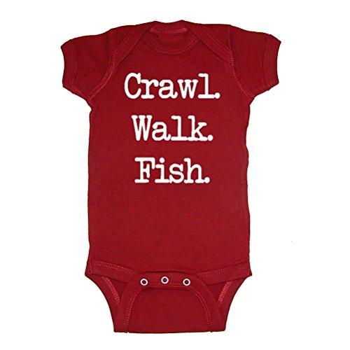 LOL Baby! Crawl Walk Fish Baby Bodysuit (Garnet, 18 Months)