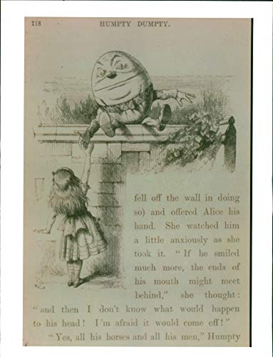Vintage photo of Nursery rhyme:an illustration of humpty dumpty.