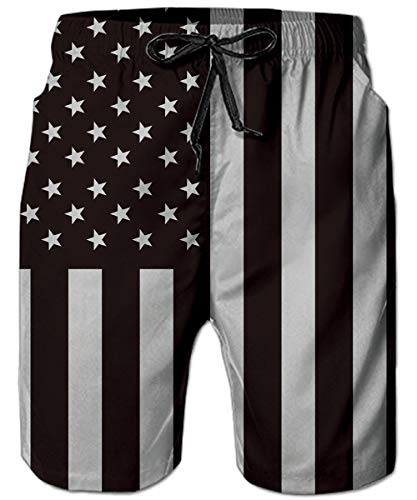 Loveternal Men's Black Flage Swimming Trunks Board Shorts Black Flag Stars and Stripes Dad Big and Tall Beach Shorts Guys Swim Trunks Men Bathing Suits Independence Day Clothes XL