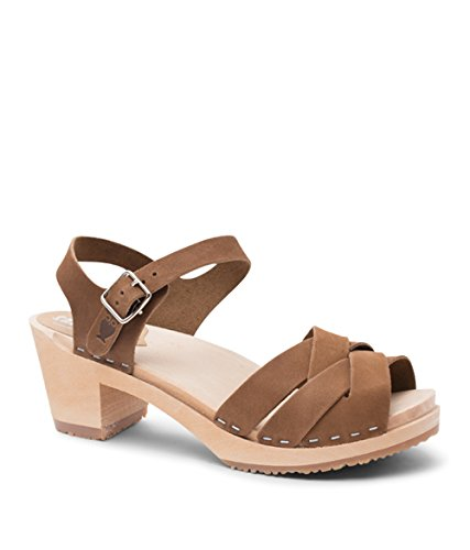 (Sandgrens Swedish High Heel Wood Clog Sandals for Women | Rio Grande Dexter Tan, EU 40)