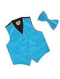 Dan Smith Italy Series Plain Microfiber Fashion Vest Matching Bow Tie