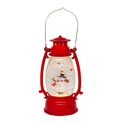 (Red Vintage Lantern Snowman Swirling LED Light 10 Inch Acrylic Holiday Glitter Globe)