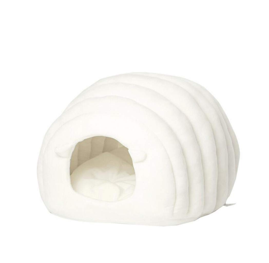 White Pet Bed Cat Tent Warm Puppy Bed Cat Cave Cat Nest Winter Cozy Sleeping Bag (color   White)