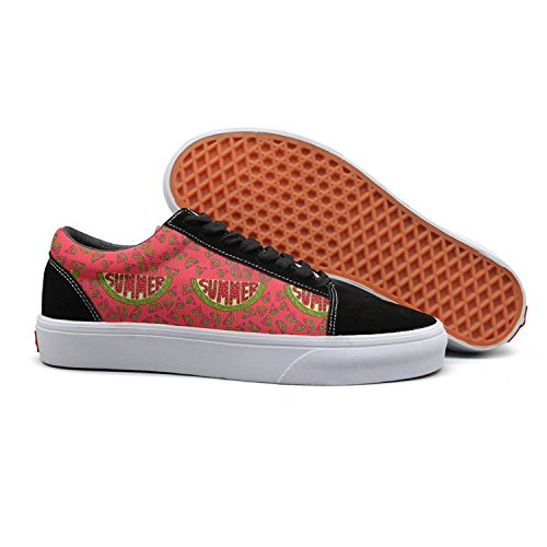 with Word Low Women's Feenfling Boat Shoes Top Sneakers Canvas Womens Printed Summer A Athletic Watermelon for Trendy Red 4wqFt5q