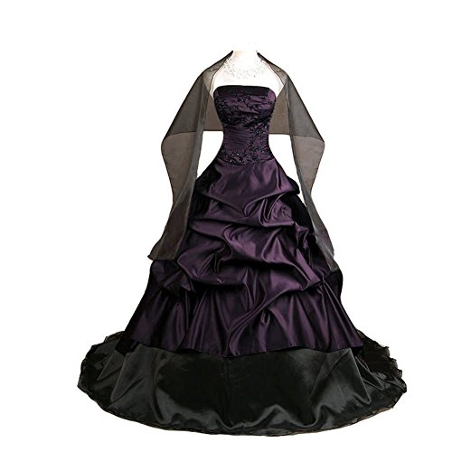 Kivary Women's Strapless Deep Purple and Black Pick up A Line Gothic Prom Corset Wedding Dresses US 2