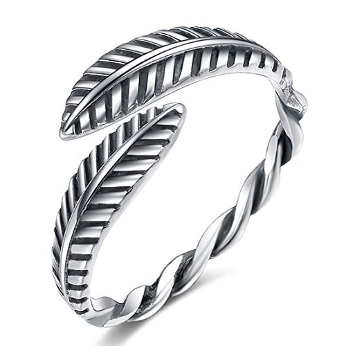 - LicLiz Adjutable Feather Band Antique 925 Sliver Open Twist Ring for Women