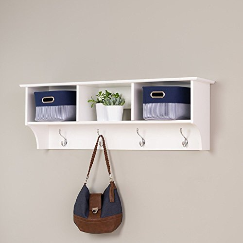 Hanging Entryway Shelf Storage Hooks Organizer Home Furniture Cubbies Baskets Coat Rack Shelves Indoor Cabinet Wall Mounted Hallway Bookshelves Solid Wood White by Prepac