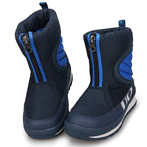 UOVO Boys Snow Boots Boys Winter Boots for Kids Waterproof Winter Shoes for Cold Weather Slip Resistant Warm Outdoor (Little Kids/Big Kids) (12.5 M US Little Kid, Navy Blue)