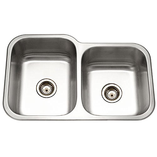 lite Series Undermount Stainless Steel 60/40 Double Bowl Kitchen Sink, Small bowl Right ()