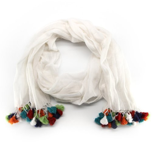 Rainbow Pom Tassel Fair Trade scarf - handmade