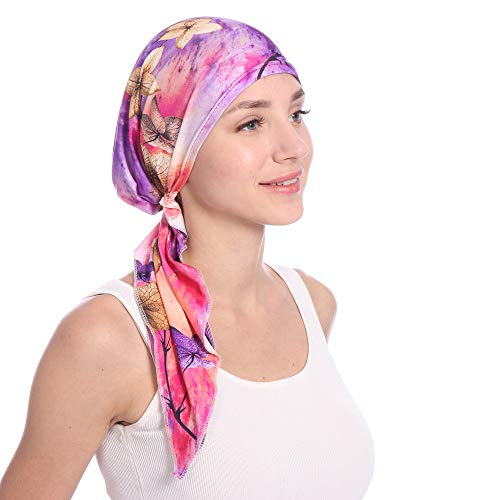 Scarf Fashion Tied (Nacome Scarf Plisse Chemo Hat Turban Head Scarves Pre-Tied Headwear Bandana Cap for Cancer (Purple))