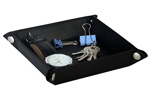 PU Leather Key Jewelry Catchall Valet Tray Box Bedside Storage Organizer for Change, Coin, Key, Phone, Black, napped size - 5.5