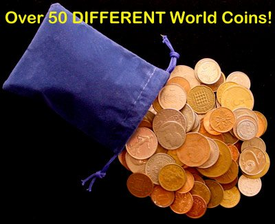 Over 50 DIFFERENT World Coins (1/2) Half Pound Grab Bag