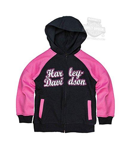 HARLEY-DAVIDSON Girls Youth Glitter Print Winged B&S Full Zip Long Sleeve Hoodie (4) Pink/Black