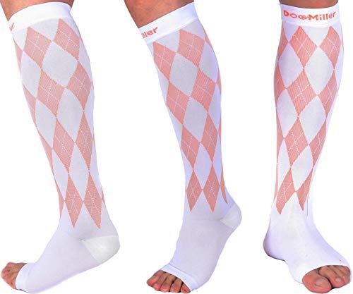 Doc Miller Open Toe Compression Socks 1 Pair 20-30mmHg Stockings (WhtOrn, M)