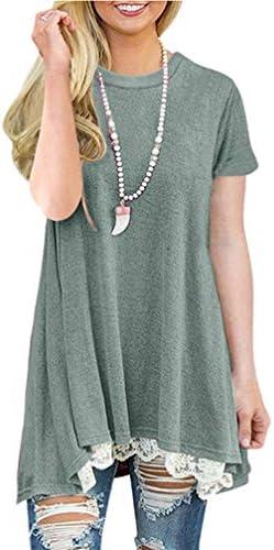 NICIAS damska koszulka z krÓtkim rękawem na lato z okrągłym dekoltem z koronką tunika top luźna gÓrna część bluzki koszulka: Odzież