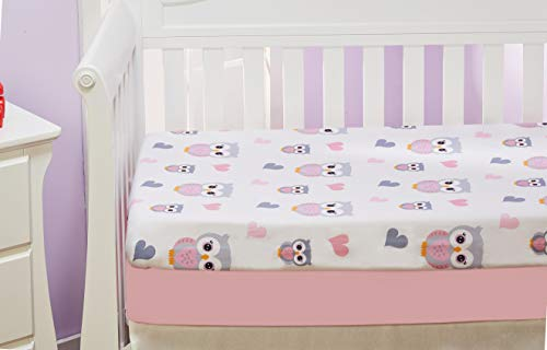 EVERYDAY KIDS 2 Pack Fitted Girls Crib Sheet, 100% Soft Microfiber, Breathable and Hypoallergenic Baby Sheet, Fits Standard Size Crib Mattress 28in x 52in, Nursery Sheet - Sweet Owls/Pink from EVERYDAY KIDS