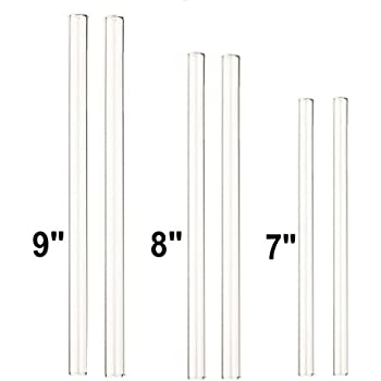 "GINOVO Set of 6 Transparent Glass Drinking Straws, 2x 9"", 2x 8"" , 2x 7"", Straight Handmade, Perfect Reusable Straw For Smoothies, Tea, Juice, Water, With 3pcs Cleaning Brush"