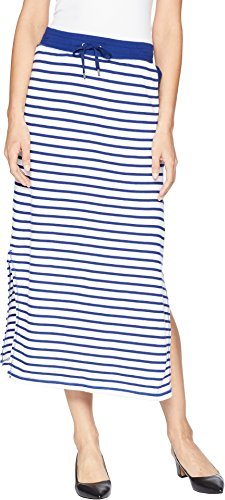 Lauren Long Skirt Skirt - Lauren Ralph Lauren Women's Striped French Terry Maxi Skirt Soft White/True Sapphire X-Large