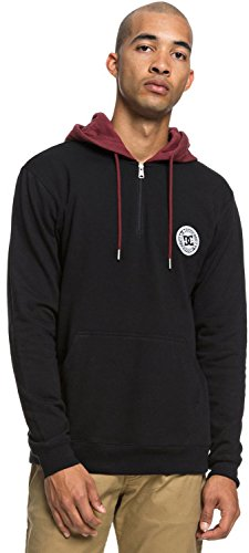 (DC Men's Rebel Pullover Half Zip Hoodie Fleece Jacket, Black)