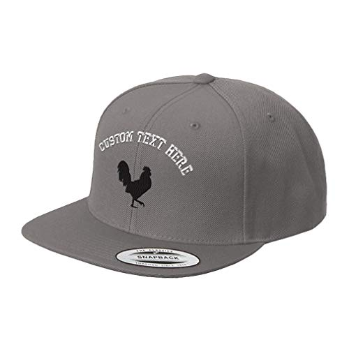 - Custom Text Embroidered Rooster Style 7 Unisex Adult Snaps Acrylic Structured Flat Visor Snapback Hat Cap - Dark Grey, One Size