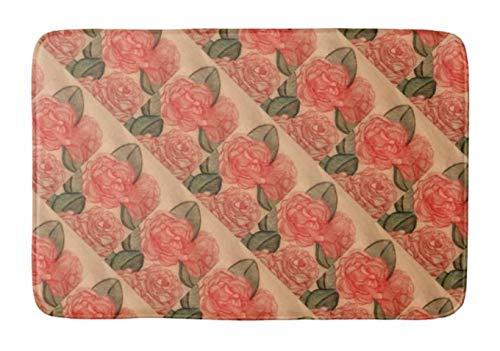 "Yesstd Cabbage Roses Diagonal Absorbent Super Cozy Bathroom Rug Doormat Welcome Mat Indoor/Outdoor Bath Floor Rug Decor Art Print with Non Slip Backing 30"" L x 18"" W Inches."