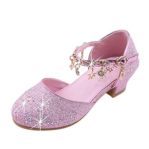 Toddler Sandals FAPIZI Baby Kids Girls Square Heel Crystal Sequins Bow Gowns Shoes Single Princess Shoes Pink