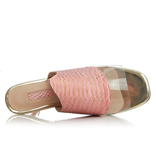 Minivog Femmes Haut Talon Extérieur Mule Sandale Chaussures Rose