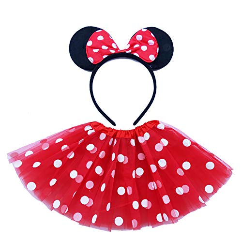 Toddler Girl Polka Dots Cosplay Dress Up Halloween Costume Birthday Tutu with Red White Mouse -
