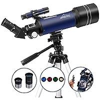 Telescopio Astronómico para Niños Principiantes 400/70mm Refractores Portátil y Equipado con Trípode 110cm, Adaptador De Teléfono MAXLAPTER