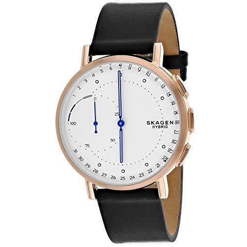 Skagen Hybrid Smartwatch Signature Stainless Steel Quartz Watch with Leather Calfskin Strap, Black, 20 (Model: SKT1112)