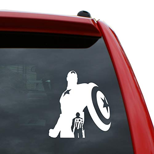 Black Heart Decals & More Captain America Vinyl Decal Sticker | Color: White | 5