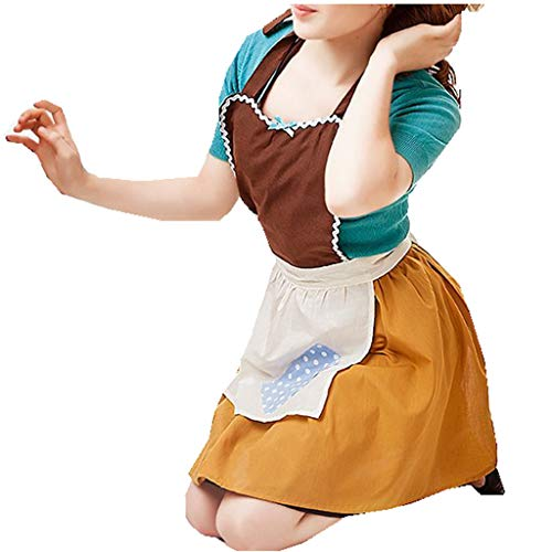 YiZYiF Womens Aprons Home Cooking Work Wear Retro Kitchen Dress Christmas Halloween Brown One Size -