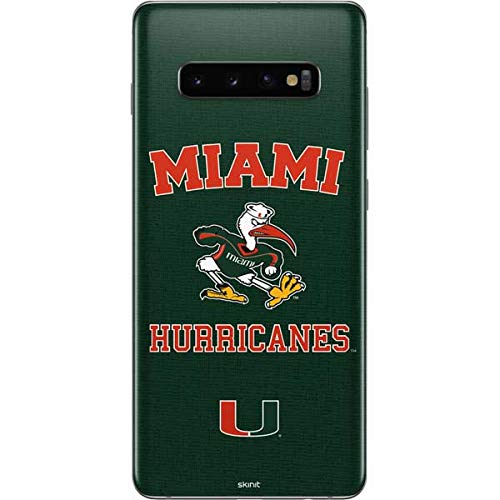 Skinit Miami Hurricanes Distressed Galaxy S10 Plus Skin - Officially Licensed Fermata College Phone Decal - Ultra Thin, Lightweight Vinyl Decal Protection
