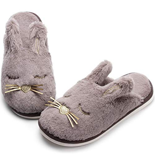 Fox Fleece Slippers |Cute Animal House Slippers |Funny Plush Slippers for Women |Cozy Novelty Fox Slippers (5.5-6.5, Grey Bunny)