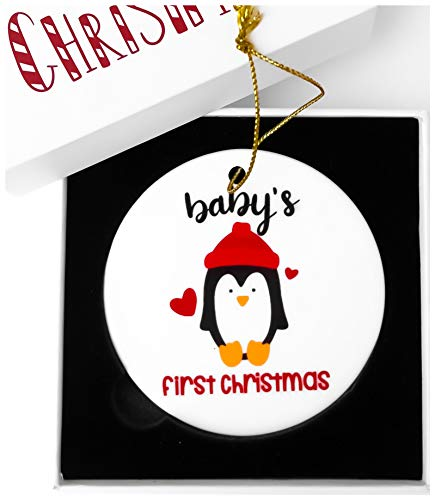 2-in-1 Babys First Christmas Ornament 2018 | Our first Christmas as Mom and Dad Porcelain Family Ornament 2018 | My First Christmas Ceramic Ornaments for Baby, Newborn Infant | Christmas Tree Ornament ()