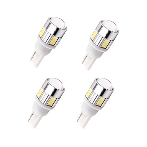 ToAUTO T10 LED bulbs Car Side Wedge Tail Lamp Interior Lights for W5W 194 168 2825 6-smd 5730 White (Pack of (Amber Tail Light Cap)