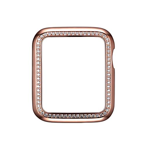 - 14K Rose Gold Plated Jewelry-Style Apple Watch Case with Cubic Zirconia CZ Border - Small (Fits 38mm iWatch)